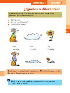 Apoyo Primaria Español 1er grado Bimestre 2 lección 8 ¿Iguales o diferentes?