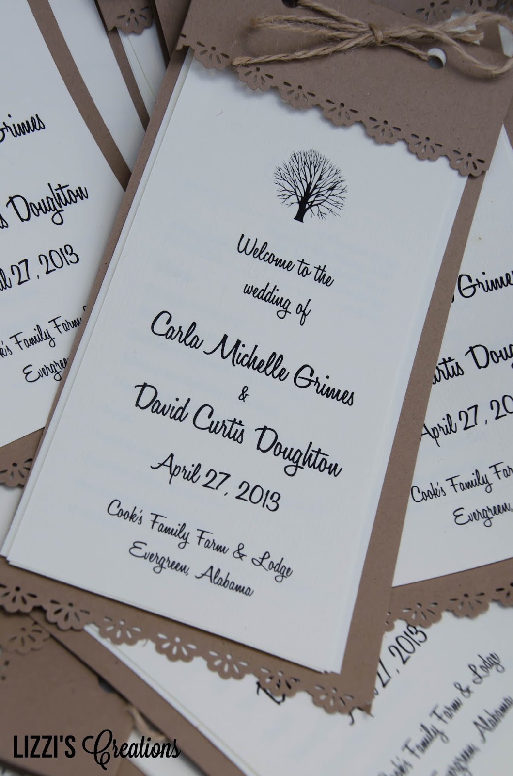 Lizzis creations project wedding invitations and programs carla also made her own programs in the same style of the invites kraft paper and white cardstock jute twine and a pretty border punch were all it took monicamarmolfo Choice Image