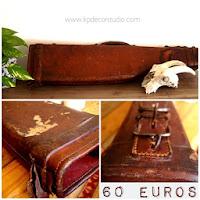 Venta de maletas de cuero antiguas. Objetos decorativos vintage. Artículos de decoración online. Tienda vintage en valencia