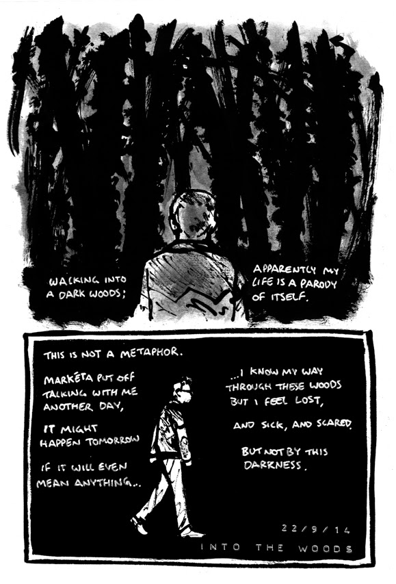 comic where Alex is walking through a woods at night to clear his head and musing on the situations metaphorical resonance.
