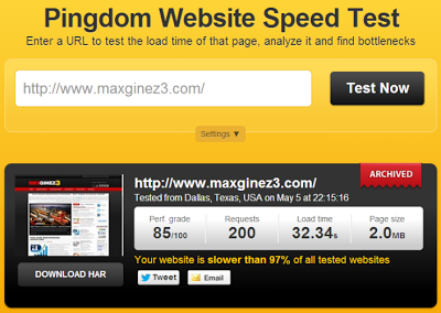 Website Loading Time Analysis - Pingdom Blogger