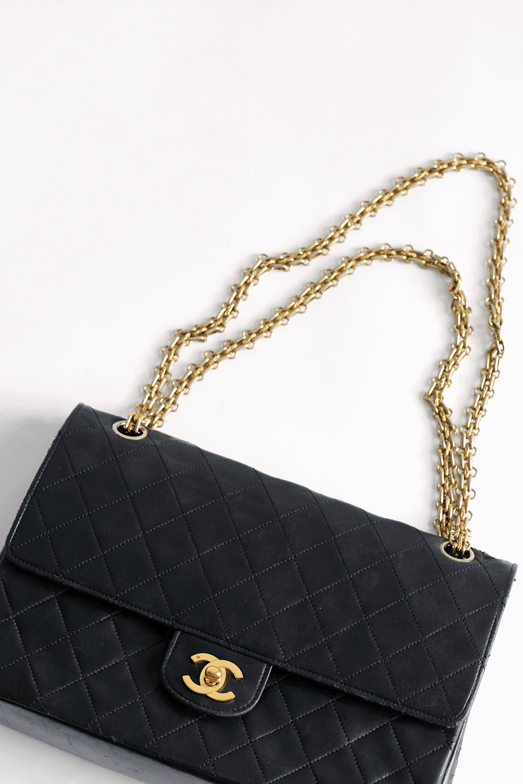 vintage chanel bag black lambskin chain