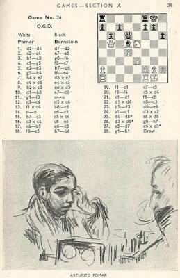 Partida Pomar-Bernstein en el libro del Torneo de Ajedrez de Londres 1946 (2)