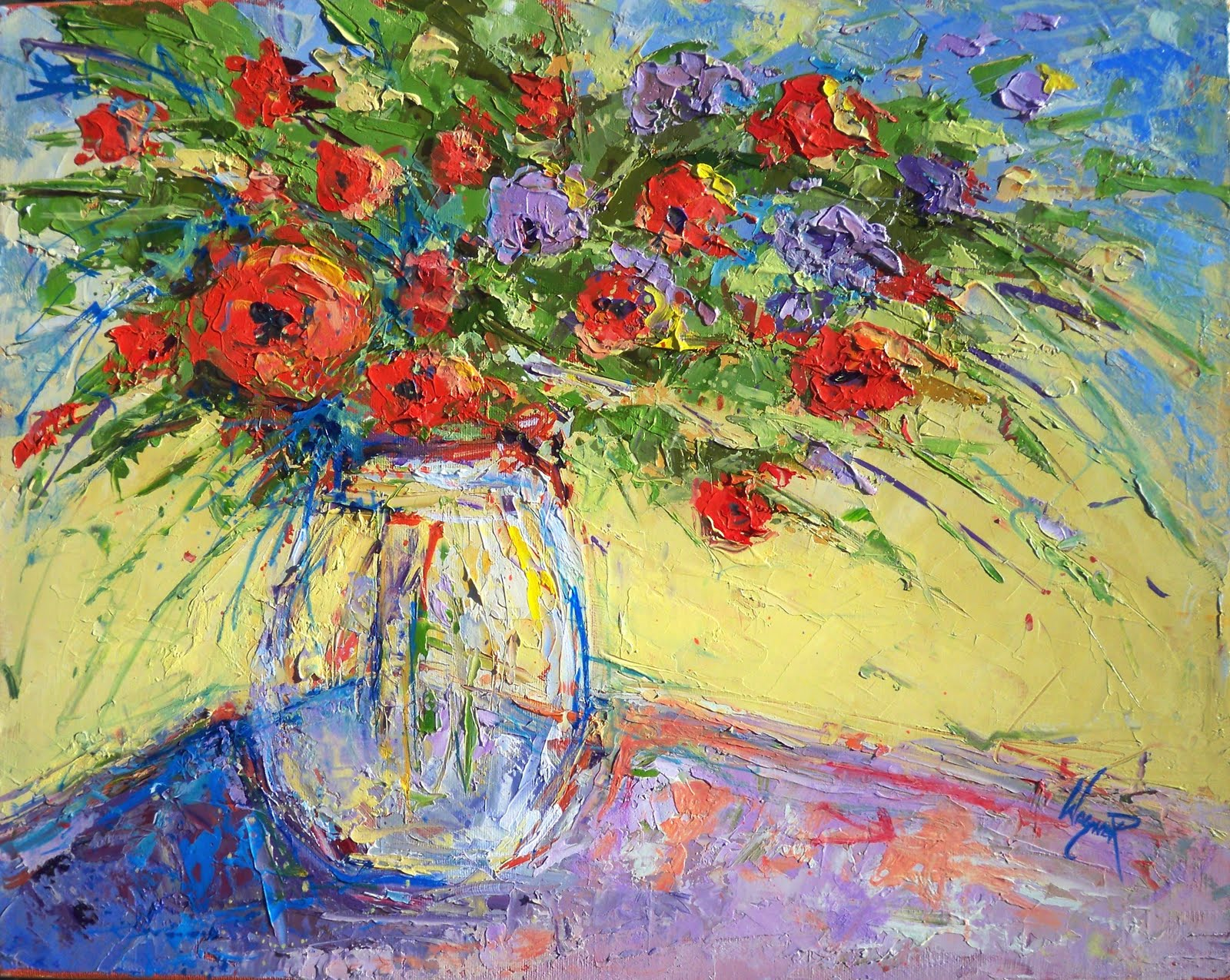 Palette knife painters palette knife bright floral for Bright flower painting