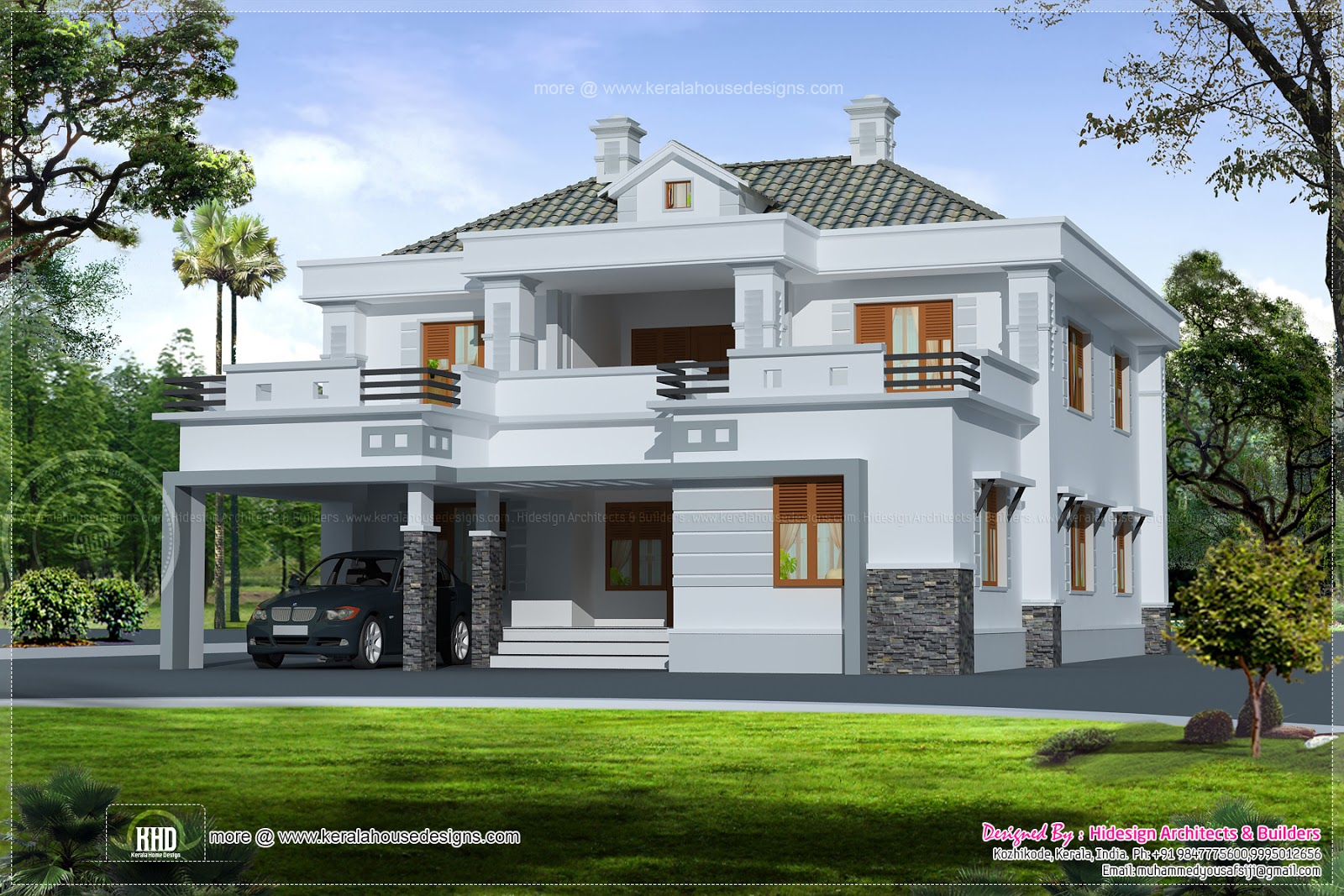 3303 square feet luxury home exterior and details kerala for Exterior house designs indian style