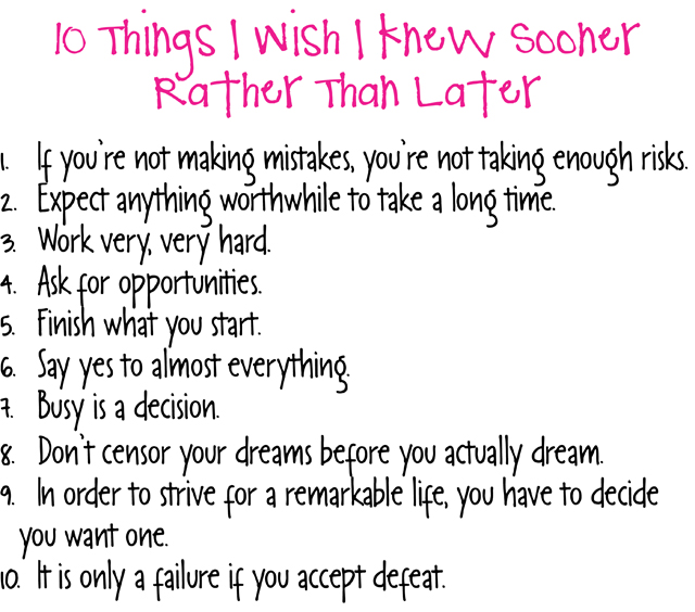 Tiny Bits of Truth, Ten Things I Wish I Knew Sooner Rather Than Later, Quotes