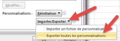 Exporter données barre d'outils acces rapide