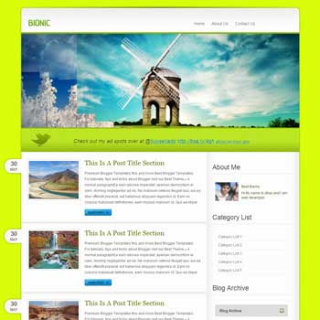 Bionic template blogger. convert wordpress theme to blogger template.wordpress to blogspot template. image slideshow blogger template