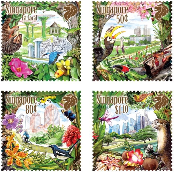 Our City in a Garden Stamp Issue: A set of mint stamps (S$2.66)