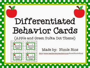 http://www.teacherspayteachers.com/Product/Differentiated-Behavior-Cards-Apples-and-Green-Polka-Dots-Theme-266287