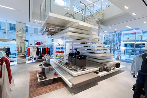 Lacoste fashion design shop floating stairs