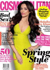Malaika Arora Cosmopolitan Yellow Dress - Malaika Arora Khan on the cover of Cosmopolitan India (March 2012)