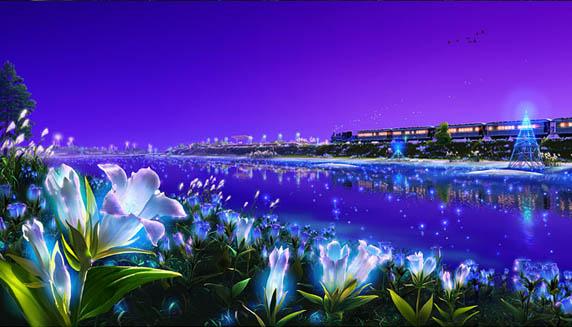 Flores de luz com o céu violeta na Atlântida, Kagaya, arte digital