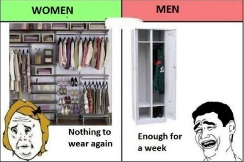20 Hilarious But True Differences Between Men And Women - On clothing