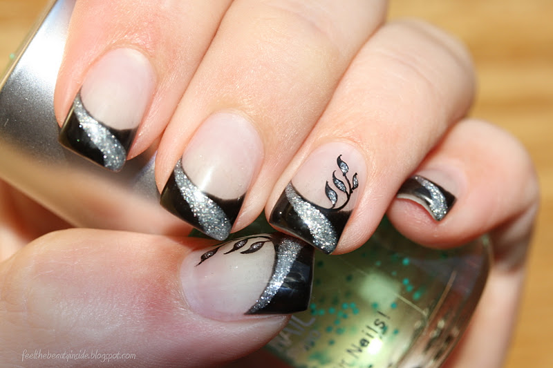 nageldesign french schwarz