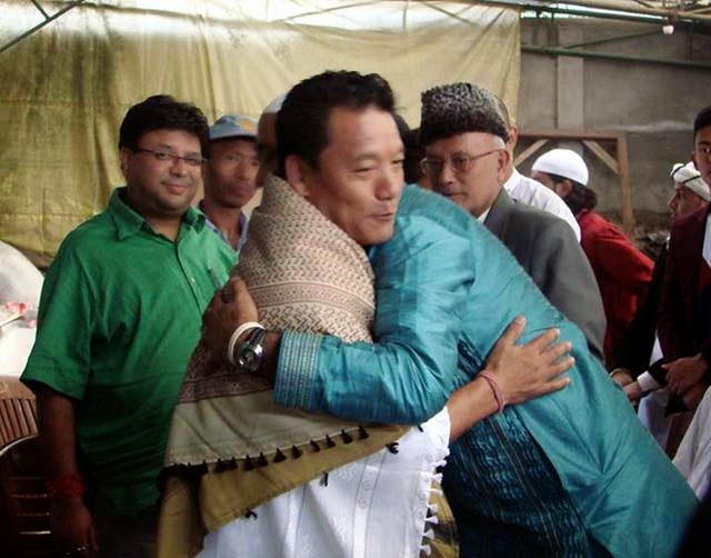 GJM chief Bimal Gurung exchanging good wishes on the occasion of Eid