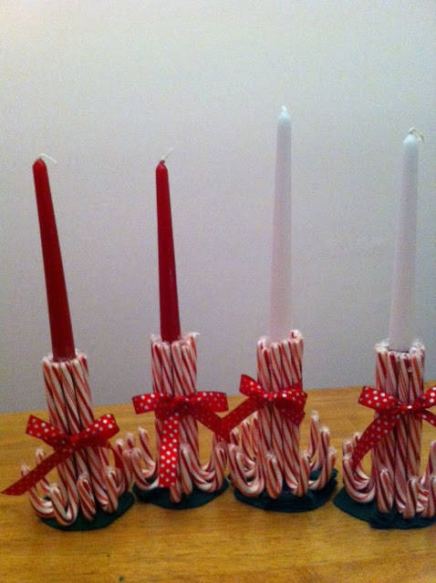 Quinceberry candy cane candle holders for How to make christmas candle holders