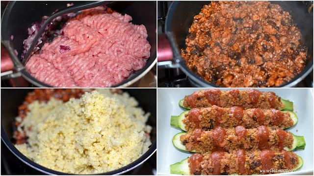 Cukinia faszerowana kaszą jaglaną i mięsem z indyka