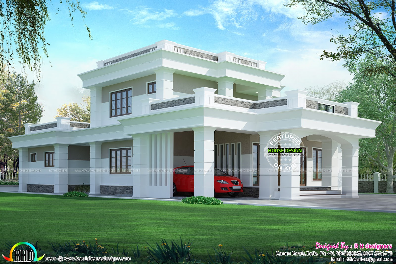 2813 sq ft flat roof box type home kerala home design for Types house designs
