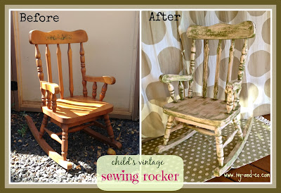 child's antique rocking chair before and after