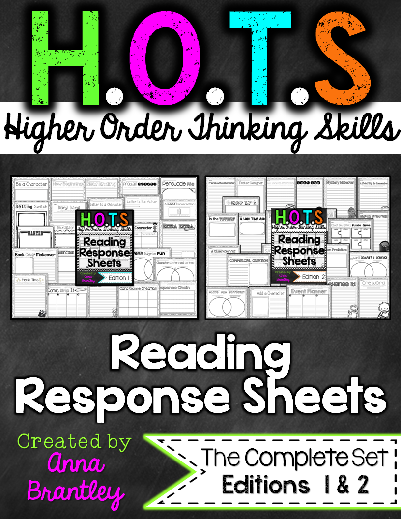 http://www.teacherspayteachers.com/Product/HOTS-Reading-Response-Sheets-THE-COMPLETE-PACKAGE-224244