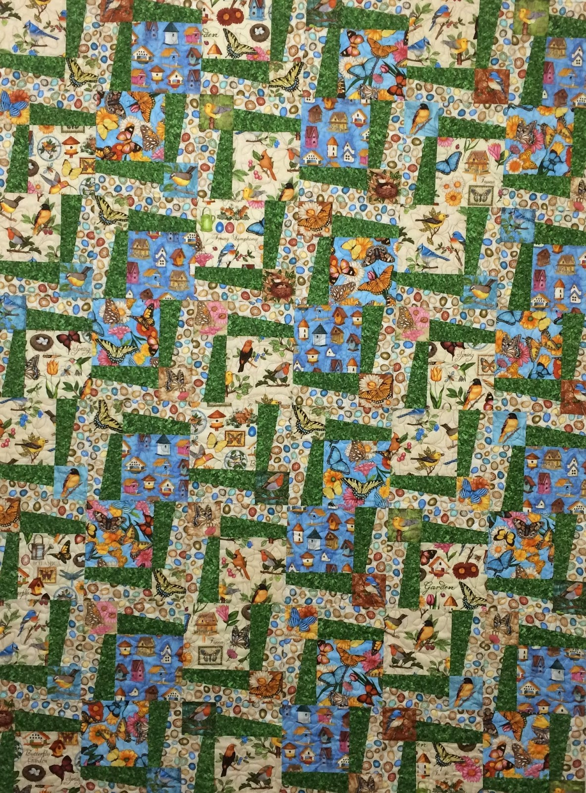 Leslie St. Onge Bird and Butterflies Quilt