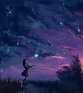 POEMAS SIDERALES ( Sol, Luna, Estrellas, Tierra, Naturaleza, Galaxias...) - Página 4 Mujer+mirando+estrellas