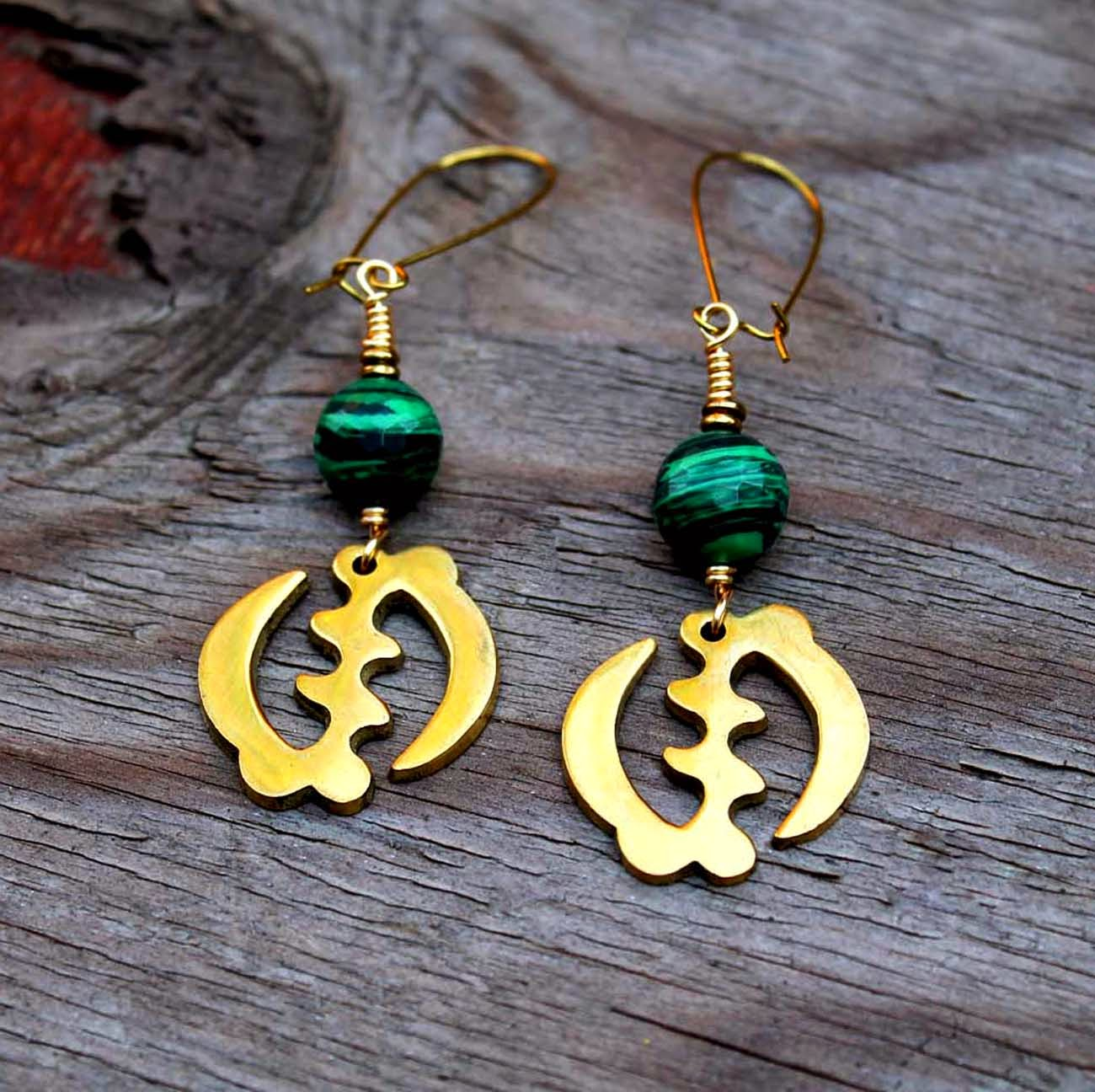 african brass gye nyame adinkra earrings