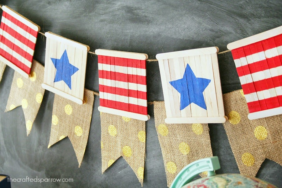 cool popsicle stick party craft patriotic banner