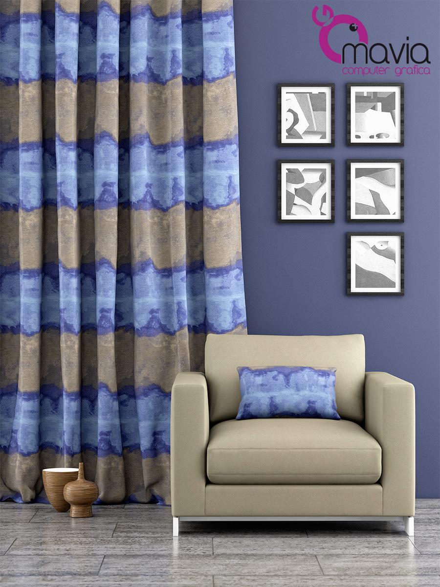 Arredamento di interni rendering fotoreale tende divani e - Rifoderare divano ...