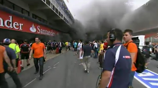F1 Spanish Grand Prix Williams smoke blaze