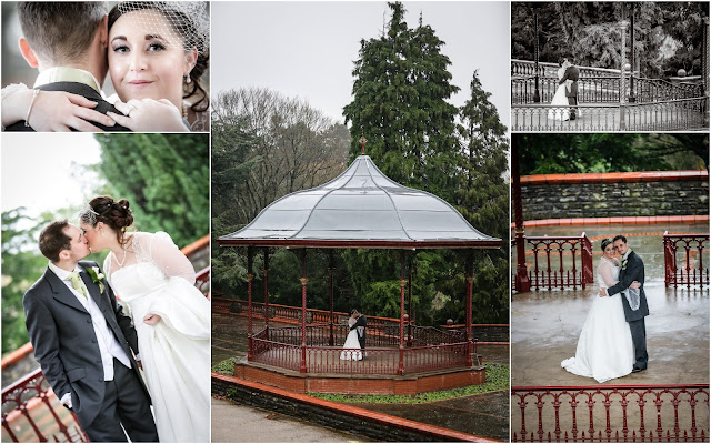collage of wedding photos taken at Belle Vue Park Newport