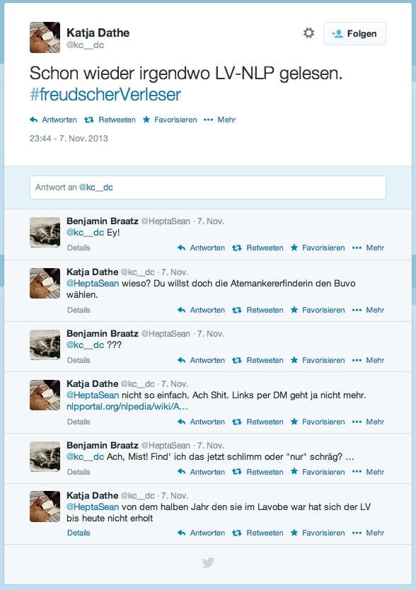 Aktionen     Folgen   Katja Dathe @kc__dc Schon wieder irgendwo LV-NLP gelesen. #freudscherVerleser