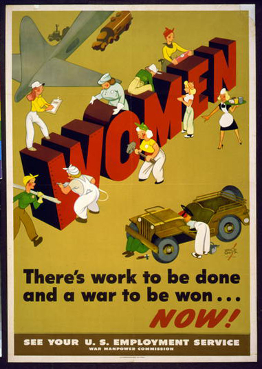 free printable, printable, war, military, propaganda, wpa, federal art project, vintage, vintage posters, retro prints, classic posters, graphic design, free download, Women, There's Work to Be Done and a War to be Won... Now! - Vintage WPA War Military Poster