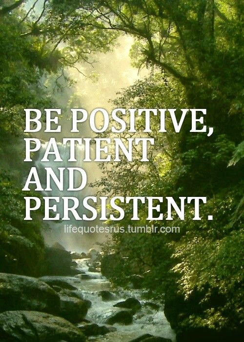 """Be positive, patient and persistent."" Picture of a stream in a forest. lifequotesrus.tumblr.com"