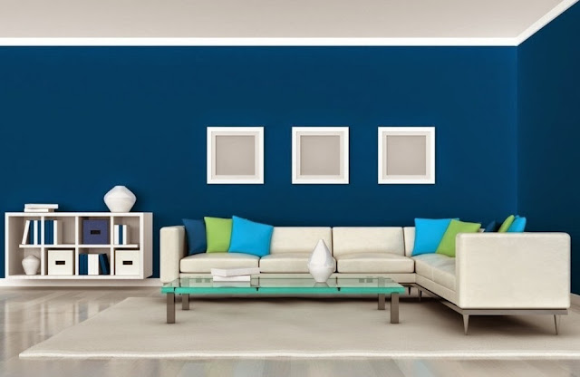 Ruang Tamu 2015 warna biru minimalis