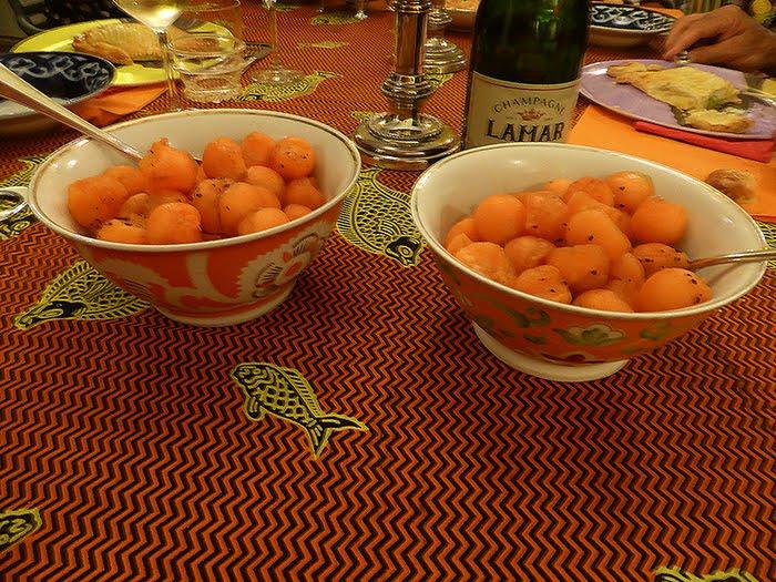 Melone al pepe e sciroppo di melograna