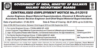 Indian Railway Recruitment for 2239 JE SSE CMA CDMS DMS posts
