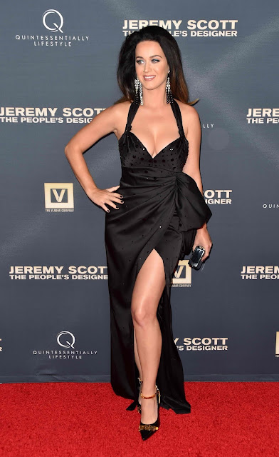 Katy Perry plunging glam black dress on red carpet