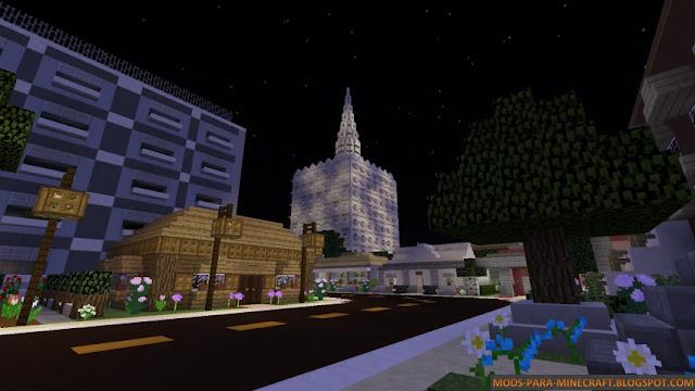 Una ciudad de noche en Minecraft - Mapa Spectrum 1.8
