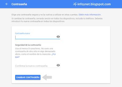 Cambiar la contraseña de una cuenta de Google