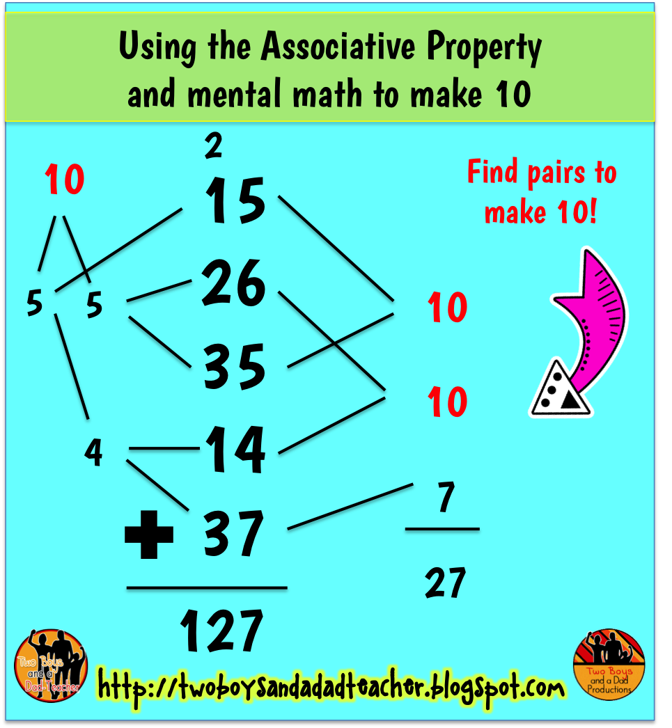 worksheet Property Of Math two boys and a dad teacher math tip monday october addition associative property of is great for finding pairs that make 10