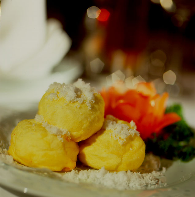 Signature Souffle Egg White Balls with Red Bean Paste and Banana