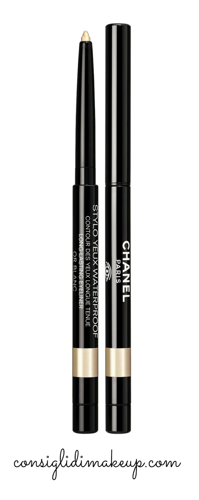 stylo yeux or blanc chanel natale
