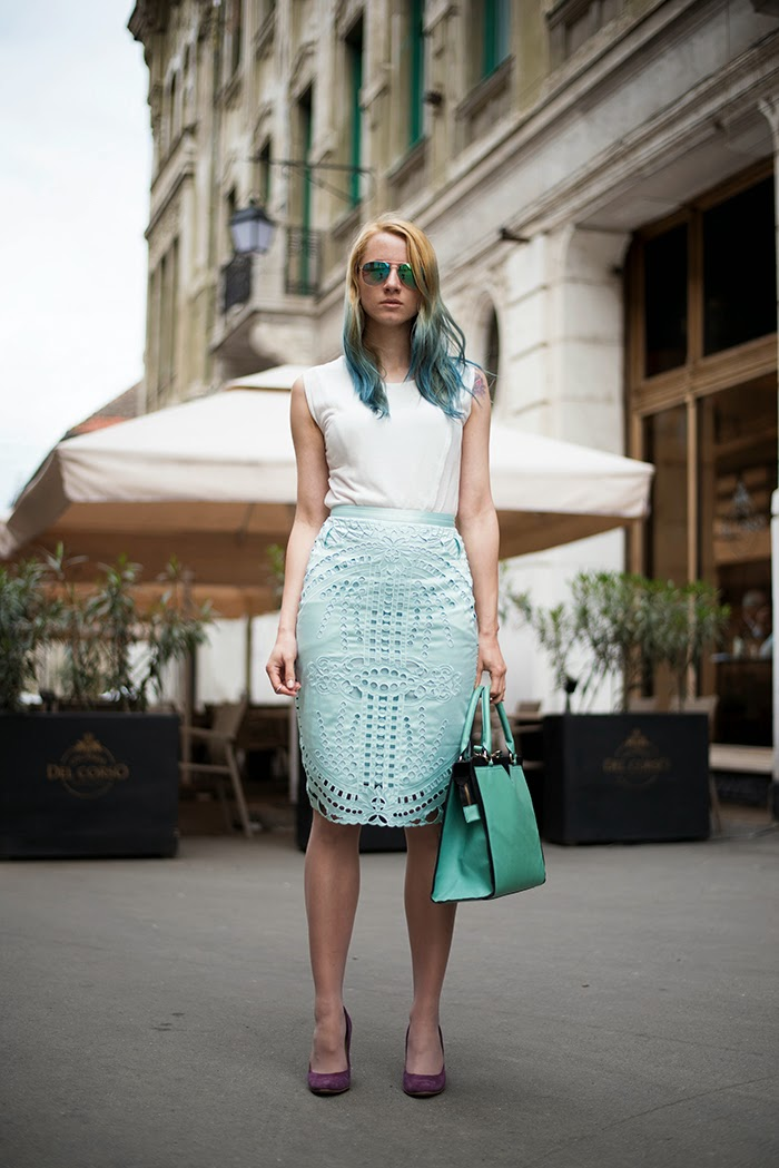 Skinny Buddha turquoise ombre hair mint perforated skirt