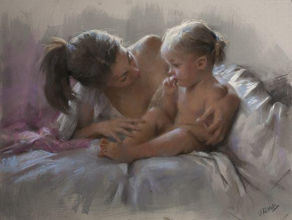 Vicente Romero pinturas mulheres impressionistas beleza Mãe e seu bebê