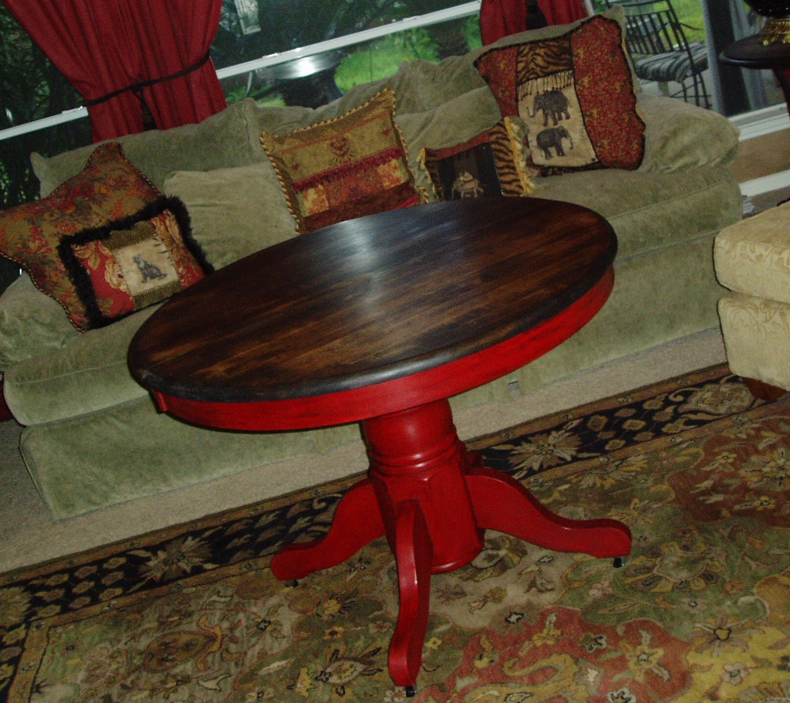 faux painting furniture rustic burnished red pedestal table