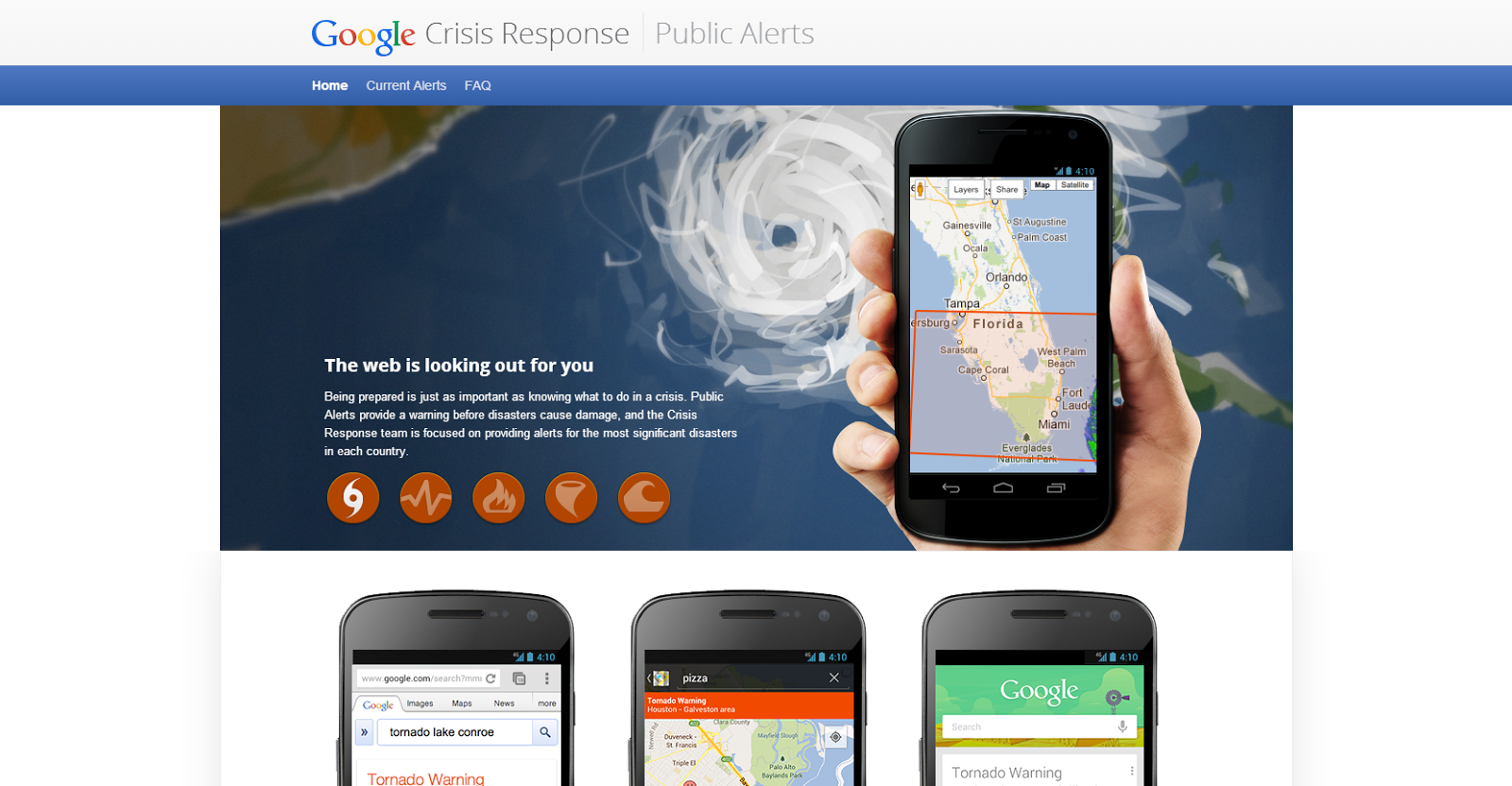 google has launched public alerts within its search and map applications to help keep you safe if you search or look at an area in a map that is under a