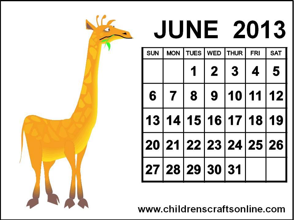 ... and Crafts for Children: Cute June 2013 Calendar for kids children