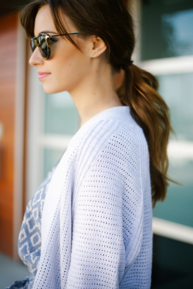 cozy light blue sweater with printed romper M Loves M @marmar